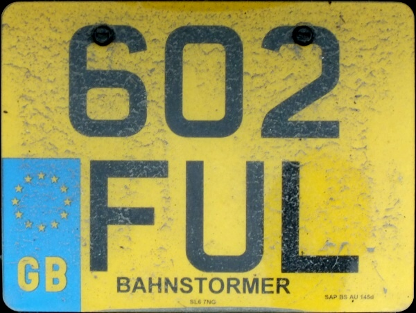 Great Britain former normal series remade as cherished number motorcycle close-up 602 FUL.jpg (118 kB)