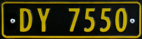 Norway four numeral series not allowed on public roads close-up DY 7550.jpg (71 kB)
